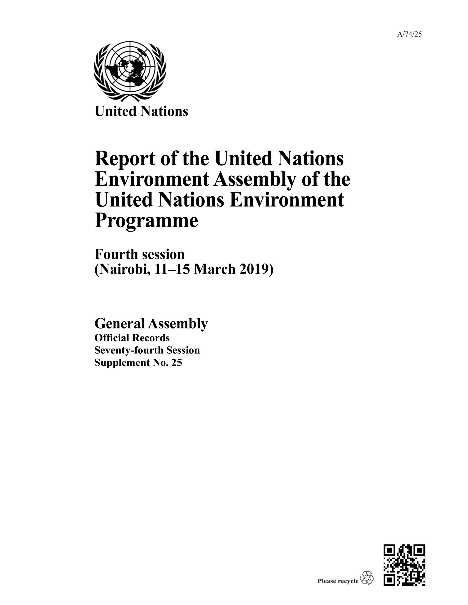 Report of the United Nations Environment Assembly of the United Nations Environment Programme